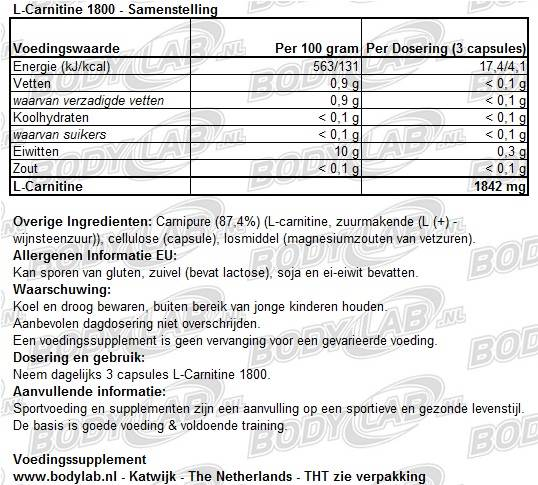 L-Carnitin 1800 Best Body Nutrition Samenstelling