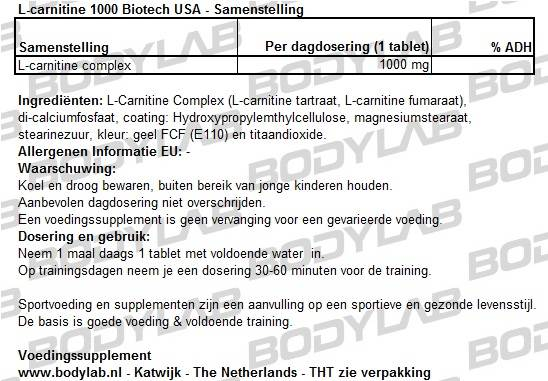 L-carnitine 1000 Biotech USA Samenstelling